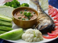 Spicy Northern Thai Dipping sauce with grilled fish